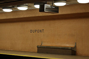 Dupont station - Platform lighting, tiled wall and built-in bench