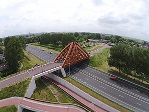 A7 motorway (Netherlands) - The A7 runs under the Duvelsrak viaduct in Sneek