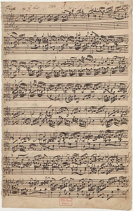Bach's autograph of Fugue No. 17 in A major from the second part of Das Wohltemperierte Clavier DwtkII-as-dur-fuga.jpg
