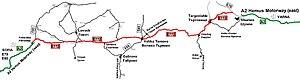 European route E772 - From west to east: Yablanitsa, Sevlievo, Veliko Tarnovo, Omurtag, Targovishte, Shumen
