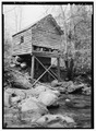 EAST SIDE SHOWING MILL STREAM - Alfred Raegan Tub Mill, Roaring Fork Trail, Gatlinburg, Sevier County, TN HABS TENN,78-GAT.V,4-4.tif