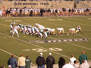 2010 Eastern Michigan Eagles football team - Army lines up for a field goal attempt early in the third quarter. The kick was good, giving the Black Knights a 24-14 lead, the biggest of the night.