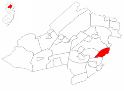 East Hanover Township highlighted in Morris County. Inset map: Morris County highlighted in the State of New Jersey.