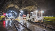 A tunnel cavern located north of the new Grand Central LIRR station, with two tubes diverging from the cavern. A railroad switch will be installed within the cavern, connecting the tracks that run through the tubes.