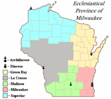 Map of Wisconsin indicating counties for each of the five dioceses