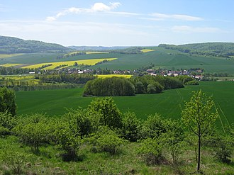 Eichsfeld - Typical landscape in the Eichsfeld: Villages between fields and wooded hills