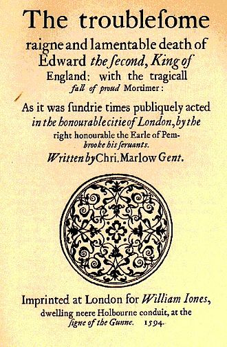 Christopher Marlowe - Title page of the earliest published text of Edward II (1594)