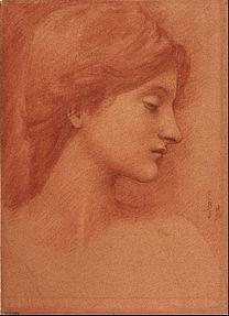 BURNE-JONES Edward Study of a female head 1894
