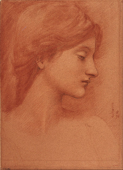 BURNE-JONES Edward Study of a female head 1894