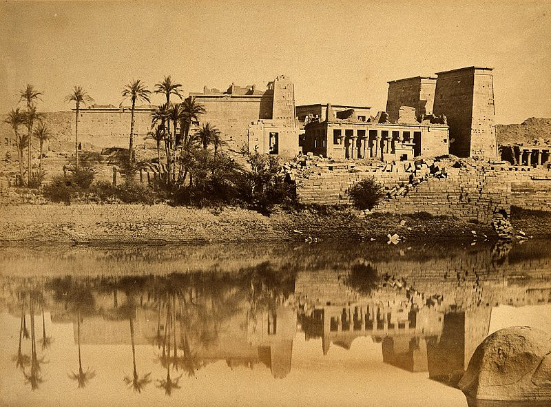 File:Egypt; a temple in ruins by the Nile. Photograph by Felice Wellcome V0037707.jpg