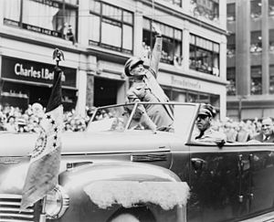 United States presidential election in New York, 1952 - Much of Eisenhower's popularity as a politician was based on his role as Supreme Allied Commander during the end of World War II - shown here at the WWII victory parade in New York City.