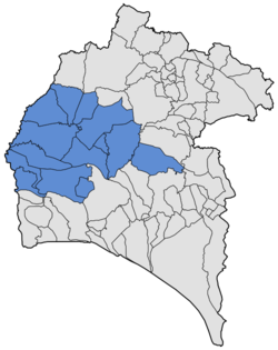 Location of El Andévalo in the province of Huelva