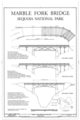 Elevations and Plan - Marble Fork Bridge, Spanning Marble Fork of Kaweah River on Crystal Cave Road, Three Rivers, Tulare County, CA HAER CAL,54-THRIV.V,3- (sheet 1 of 1).png
