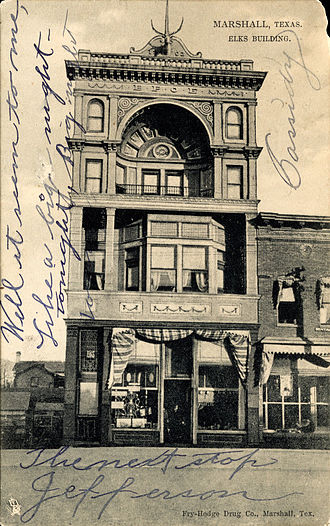 Marshall, Texas - Elks Building, Marshall, Texas (postcard, 1909)