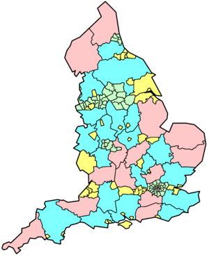 Local Government Commission for England (1992) - Map showing counties and unitary authorities from 1998. Pink (non-metropolitan) and green (metropolitan and London) areas were left unchanged. Yellow areas are unitary authorities created as a result of the review, whilst blue areas are remaining two-tier counties reduced by the creation of unitary authorities.