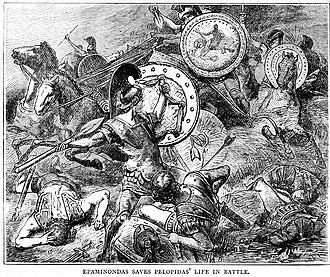 Siege of Mantinea - Epaminondas saves the life of Pelopidas in battle