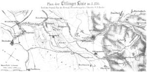 Ettlingen Line - Northwestern part of the Ettlingen Line around 1734 from an 1857 plan