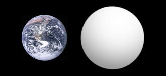 Kepler-10b - Size comparison of Kepler-10b with Earth