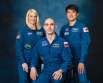 Expedition 49 crew portrait with astronaut Kate Rubins, cosmonaut Anatoly Ivanishin, and astronaut Takuya Onishi.jpg