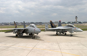 F-14B and FA-18EF VF-VFA-11 Parked 2 - 2005.jpg