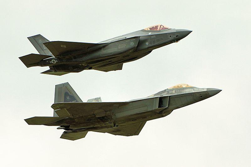 File:F22 Raptor & F35 Lightning II - RIAT 2016 (28258491202).jpg