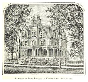 Brush Park - The Philo Parsons residence, designed by architect Elijah E. Myers and completed in 1876, was located at the corner of Woodward Avenue and Watson Street