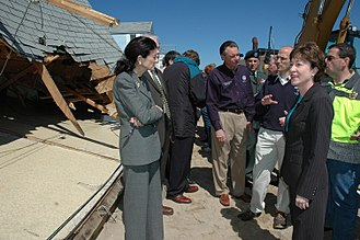 Olympia Snowe - Snowe touring damaged areas of Maine in 2007