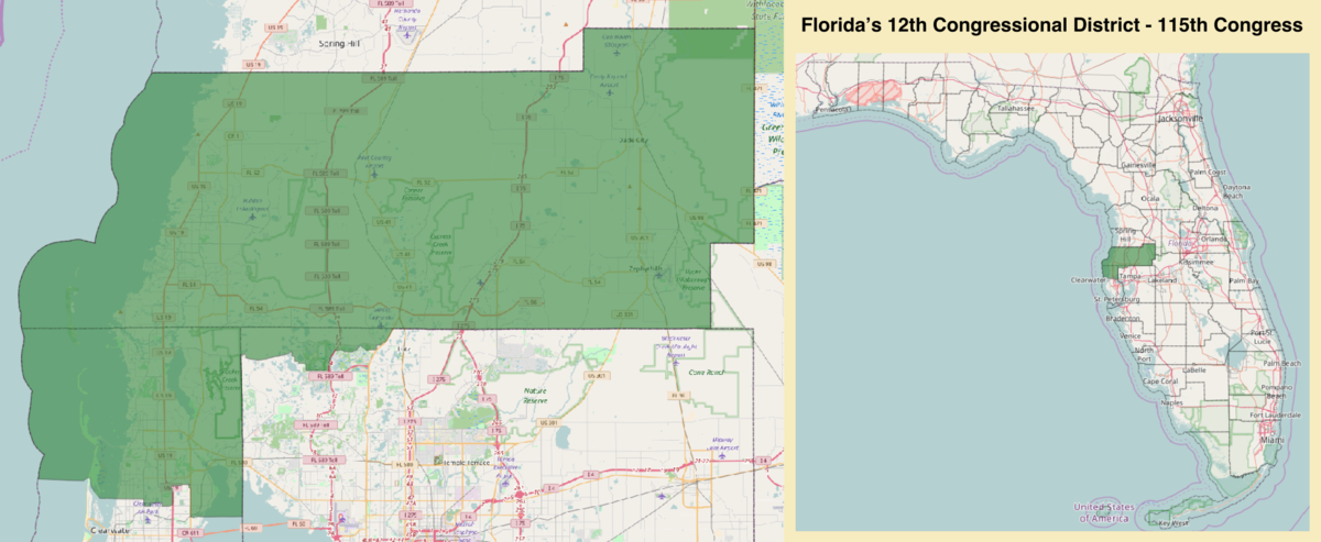 Floridas Th Congressional District Wikipedia - Map of us house district 12 florida