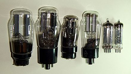 Thermionic diode valves derived from the Fleming valve, from the 1930s (left) to the 1970s (right) FRec var.jpg