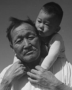 Face detail, Manzanar Relocation Center, Manzanar, California. Grandfather and grandson of Japanese ancestry at . . . - NARA - 537994 (cropped).jpg