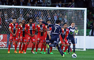 Direct free kick - Guilherme Finkler attempts to score from a direct free kick for Melbourne Victory FC