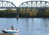 Fishermen on the Missouri River in Council Bluffs, Iowa