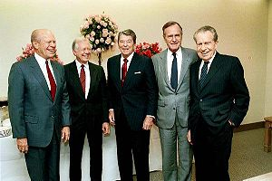 Timeline of the presidency of George H. W. Bush - President Bush with former Presidents Gerald Ford, Jimmy Carter, Ronald Reagan, and Richard Nixon, November 4, 1991
