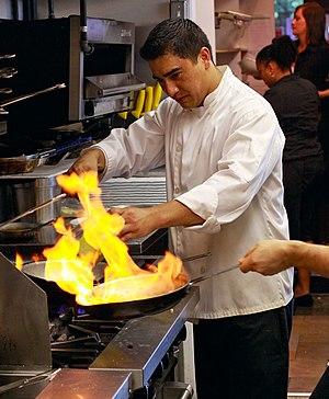 Flambé - Flambéing in a sauté pan