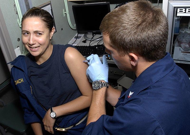 File:Flickr - Official U.S. Navy Imagery - Officer receives flu shot at sea..jpg