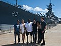 "Flickr - Official U.S. Navy Imagery - Peter Berg, left, direct of the science-fiction movie ""Battleship"" poses with cast members..jpg"