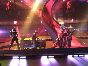 """Deep Zone Project - Yoanna performing """"DJ, Take Me Away"""" at the Eurovision Song Contest 2008, Belgrade, 22 May 2008."""