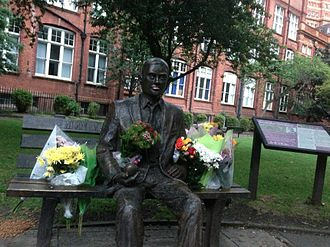 Alan Turing Memorial - Flowers on the Alan Turing Memorial on his birthday in 2012