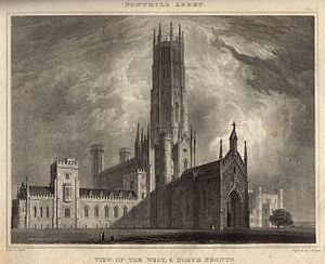 Fonthill Abbey - View of the west and north fronts from John Rutter's Delineations of Fonthill (1823)