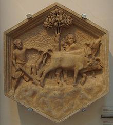 Agricoltura, formella del Campanile di Giotto, Andrea Pisano, 1334-1336, Firenze