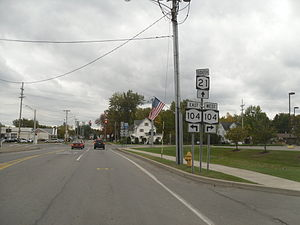 New York State Route 21 - Lake Avenue (former NY 21) southbound at NY 21's current northern terminus in Williamson