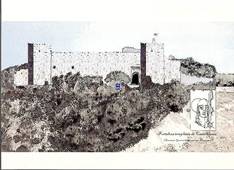 Castilblanco - Engraving with a hypothetical shape of the original fortress.