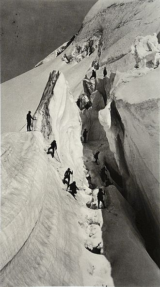 Mountaineering - An open crevasse at the Mont Blanc in 1862