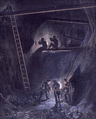 Kongsberg - From Kings Mine, drawn by Johannes Flintoe in 1834, depicting the work of the Kongsberg mine.