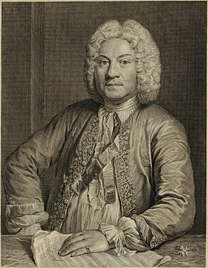 François Couperin - Couperin, engraving by Jean Jacques Flipart, 1735, after André Bouys.