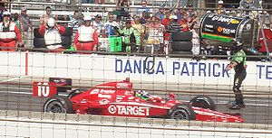 2010 Indianapolis 500 - Dario Franchitti heads through the pits towards Victory Lane after winning.