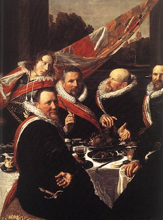 The Banquet of the Officers of the St George Militia Company in 1616 - Detail of the 1616 banquet, featuring Captain Nicolaes Woutersz van der Meer whose large figure fills up the table.
