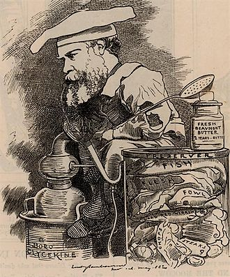 Frederick Settle Barff - Caricature of Barff published in Punch, 1882. Caption: Member for Boro-Glyceride. Our Preserver!