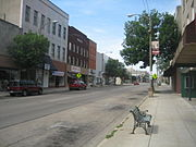Buildings in downtown Freeport, Illinois.