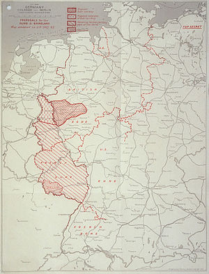 History of the European Coal and Steel Community (1945–57) - UK map of the French proposals, created April 1946. The Ruhr Area is to be extended to the Dutch border by incorporating parts of the Rhineland, and the whole new territory shall then be detached from Germany.